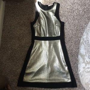 Gold and black mini dress